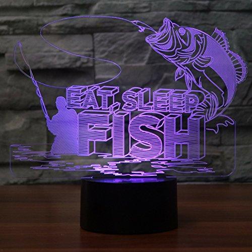 DFDLNL 7 Cambio de Color Dormitorio 3D Led Big Fish para atrapar Accesorio de luz USB Decoración de luz Nocturna para entusiastas de la Pesca Regalos Lámpara de Mesa