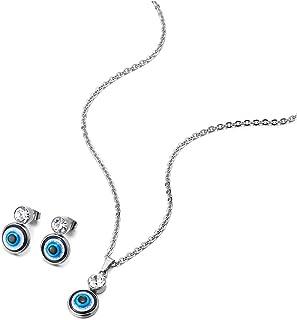 COOLSTEELANDBEYOND Femmes Acier Petit Mauvais /œil Pendentif de Protection Collier Solitaire Zircone Cubique AVCE Boucles doreilles