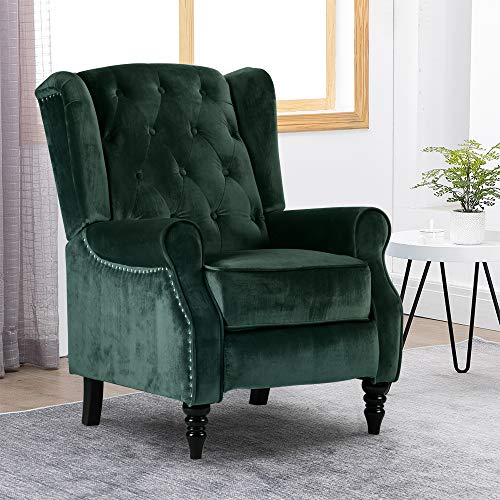 Soft Padded Sofa Chaise Recliner Chair for Elderly People, Velvet Buttoned Lounge Couch Single Sofa Accent Upholstered Reclining Armchair for Living Room Recreation Room, Green