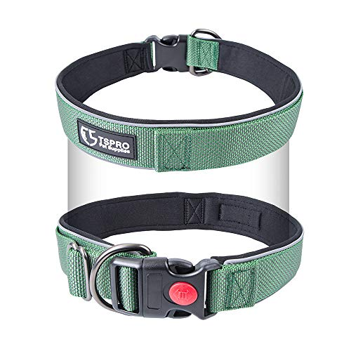 TSPRO Basic Dog Collar Easy Full Adjustable Dog Collar Reflective Dog Collar with Padded Inner and Secure Closure Light Weight Dog Collar 1 inch Dog Collar for Small Dog