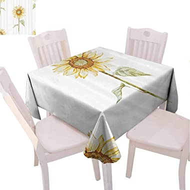 VICWOWONE Sunflower Square Tablecloth Camping 54 x 54 inch Sunflowers in Watercolor Painting Effect Minimalistic Design Decor