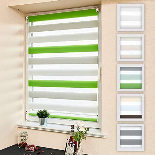 Atlaz Doppelrollo Duo Rollo Klemmfix ohne Bohren 70x150cm (BxH) Weiss Grau Grün Jalousie Raffrollo Faltrollo Sonnenschutzrollo Easyfix mit Klemmträger für Fenster und Tür