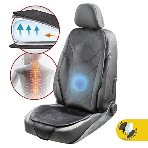 Walser Autositzauflage Air Flow, ergonomischer Sitzschoner, Lendenwirbelschutz, Universal Sitzauflage für PKW, Farbe: schwarz 13983