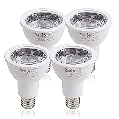 Tento Lighting E17 R14 LED Bulb Reflectors with Spotlight Feature | COB Technology - Bright White Light – 4 Pack
