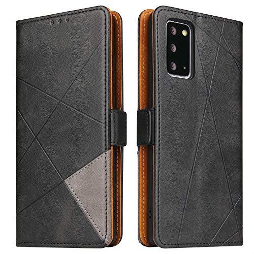 BININIBI Hülle für Samsung Note 20, Klapphülle Handyhülle Schutzhülle für Note 20 Tasche, Lederhülle Handytasche mit [Kartenfach] [Standfunktion] [Magnetisch] für Samsung Galaxy Note 20, Schwarz
