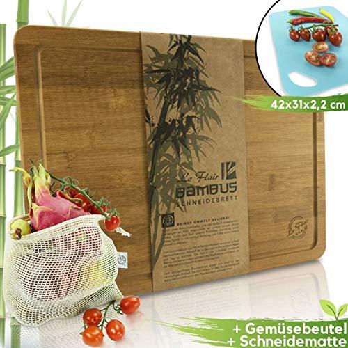 Le Flair Set 3 en 1 Planche à Découper + Sac à Fruits et Légumes + Tapis à Découper – Planche à Découper et Planche à Découper 42 x 31 x 2,2 cm – Planche en Bambou avec Rigole et Pieds Feutrine
