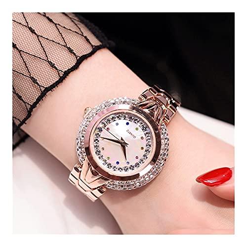 Relojes De Pulsera para Mujeres Luz De Lujo Moda De Lujo Diamante De Imitación Banda De Acero Reloj De Cuarzo Impermeable Mariposa Redonda Botón A Presión Doble Reloj De Mujer (Color : Gold)