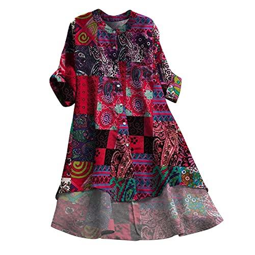 BOOMJIU Robe en lin - Col rond - Manches longues - Style bohème - Vintage - Robe à fleurs - Longueur genoux - Élégante - Coton, Rose vif, L