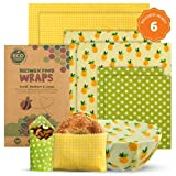 Eco Meeko Sustainable Beeswax Wraps For Food | Assorted Set of 6 | 3 Sizes 2L,2M,2S | Eco Friendly & Reusable Food Wraps | Zero Waste Bees Wrap Reusable Food Wrap | Cling Wrap Alternative