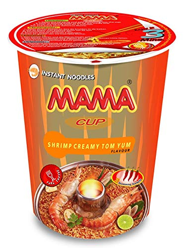 MAMA Noodles CREAMY SHRIMP TOM YUM Instant Cup Noodles w/ Delicious Thai Flavors, Hot & Spicy Noodles w/ Creamy Shrimp Tom Yum Soup Base, No Trans Fat w/ Fewer Calories Than Deep Fried Noodles 6 Pack