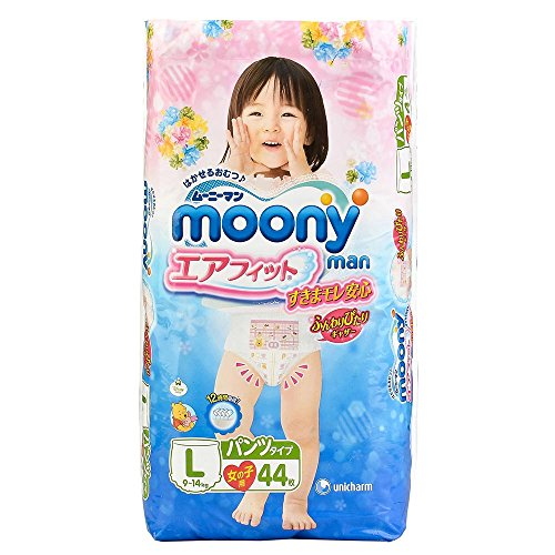 unicharm | Diapers | moony for girl , underware-style , L-size 44 sheets (japan import)