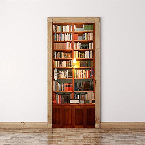 Behang deurbehang zelfklevend deurposter boekenrek boekenplank ideeën in formaat 77 x 200 cm - vinyl deur muurschilderijen deur behang voor slaapkamer badkamer 88x200cm