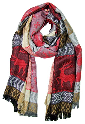 Trachtenland Trachtenland Halstuch Schal mit Hirsch Stickereien - Rot