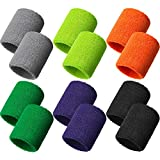 Bememo 12 Pack Sweatbands Sports Wristband Cotton Sweat Band for Men and Women, Good for Tennis, Basketball, Running, Gym, Working Out (Color Set 2)