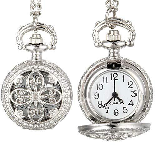 ZHAOJ Moda Vintage Mujer Reloj de Bolsillo de Cuarzo aleación Ahueca hacia Fuera Flores señora Chica Cadena Collar Colgante Reloj Regalos