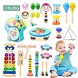 Ohuhu 23 Stück Musikinstrumente Musical Instruments Set, Spielzeug von Holz Percussion Schlagzeug Schlagwerk Rhythmus Band Werkzeuge für Kinder und Baby