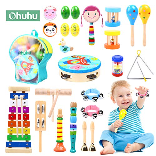 Ohuhu Musical Instruments Toys 28pcs, Kids Musical Instruments, Toddler Music Toys, Rhythm Percussion Set for Child, Xylophone - Promotes Early Development - Backpack Included