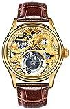 Orologio meccanico di lusso quadrante giallo cinturino in pelle marrone impreziosito pietra preziosa 3D goffrata oro 24K placcato oro orologio da polso (A)
