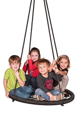 Columpio Web Riderz de exteriores, N' Spin, soporta peso de hasta 600 libras, diámetro de 39 pulgadas, cuerdas ajustables, listo para colgar y disfrutar, Negro