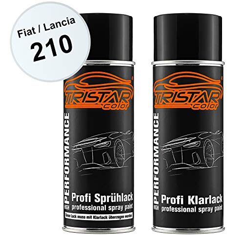 TRISTARcolor Autolack Spraydosen Set für FIAT/Lancia 210 Bianco Basislack Klarlack Sprühdose 400ml