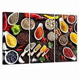 LevvArts- Kitchen Pictures Wall Decor 3 Pieces Colorful Spice in Spoon Vintage Canvas Wall Art Food Photos Painting on Canvas Stretched Framed Home Decoration Ready to Hang