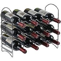 Neat-O - Soporte organizador de mesa para 12 botellas de vino, 3 niveles