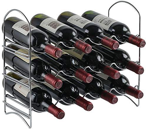 Neat-O - Portabottiglie da tavolo a 3 ripiani, per 12 bottiglie di vino 12 Bottles Cromato