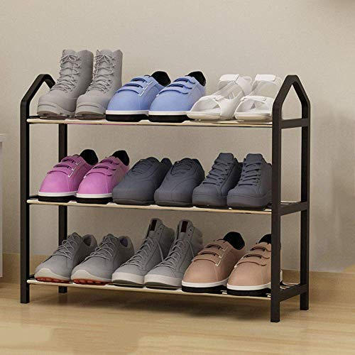 Laqemhu Zapatero Simple de Varias Capas Hogar económico Dormitorio Almacenamiento para el Dormitorio Armario para Zapatos Ensamblaje del Espacio Estante para Zapatos pequeños, Negro-Tres Pisos