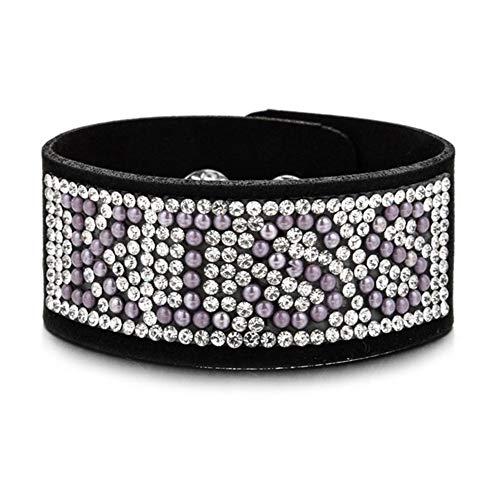 XYBB Diamantes de imitación de Cuero Ancha encantos brazaletes de Las Pulseras Hechas a Mano de Las Mujeres de los Hombres del Partido Nueva Pulsera joyería Regalo (Metal Color : B2225 D)