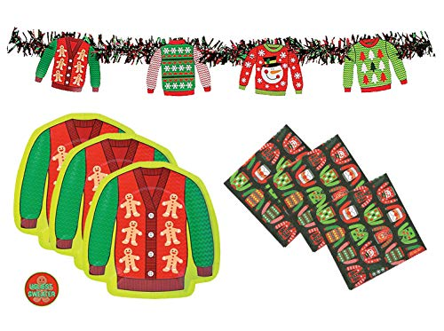 Ugly Christmas Sweater Party Supplies Pack - Banner Decoration, Plates, Napkins and Sticker (Serves 16)