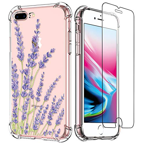LUXVEER iPhone 8 Plus Case,iPhone 7 Plus Case Clear with Design for Girls Women,Floral Pattern on Soft TPU Bumper Cover,Shockproof Slim Fit Phone Case for Apple iPhone 8 Plus/7 Plus Purple Lavender