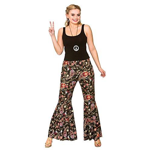 Ladies Black Paisley Groovy Hippie Pants Fancy Dress Item
