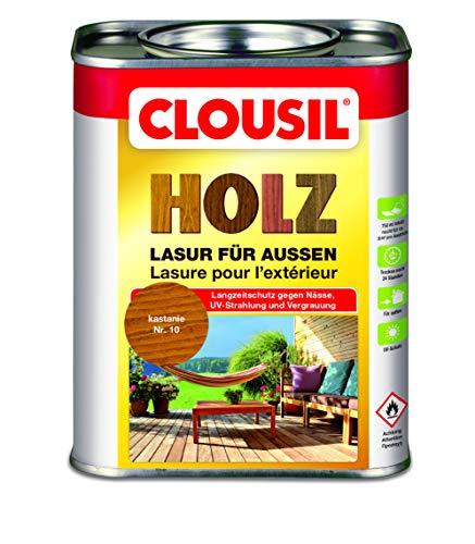 CLOUsil Holzlasur Holzschutzlasur für außen kastanie Nr. 10, 0.75L: Wetterschutz, UV-Schutz, Nässeschutz und Schimmel für alle Holzarten - in verschiedenen Farben