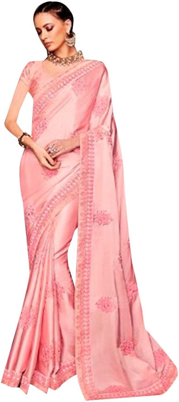 Ethnic Designer Muslin Satin Saree Sari with elegant Embroidery Indian Muslim Diwali Navratri Festive 7229 6