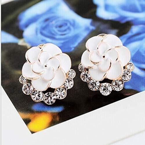 liuliu New Elegant Noble Zinc Alloy Earrings Blue Flower Crystal Camellia Ear Clip Ladies Earrings Pendant Jewelry
