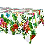 3 Pack Hawaiian Luau Tablecloths for Party Decoration, Hawaii Disposable Plastic Rectangular Table Covers, Aloha Tropical Palm Leaves Table Cloth, Summer Beach Kids Birthday Cocktail Party Supplies