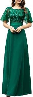 Ever-Pretty Vestito da Cerimonia Maniche Corte Chiffon Lungo Stile Impero Linea ad A Rotondo Donna 00691