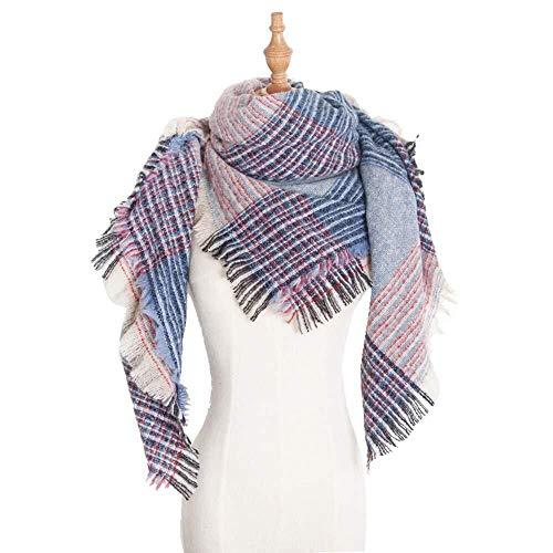 TD Winter-Schal Weicher Warm Groß Schottenkaro Schal Wraps Decke Plaid-Schal-Schals for Frauen Hohe Qualität (Color : Fj010-07-blue)