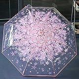 gfjfghfjfh Paraguas De Cerezo Plegable Compacto Paraguas Transparente Transparente Tres Paraguas Plegables De 8 Costillas A Prueba De Viento Paraguas De Lluvia para Mujer - Rosa