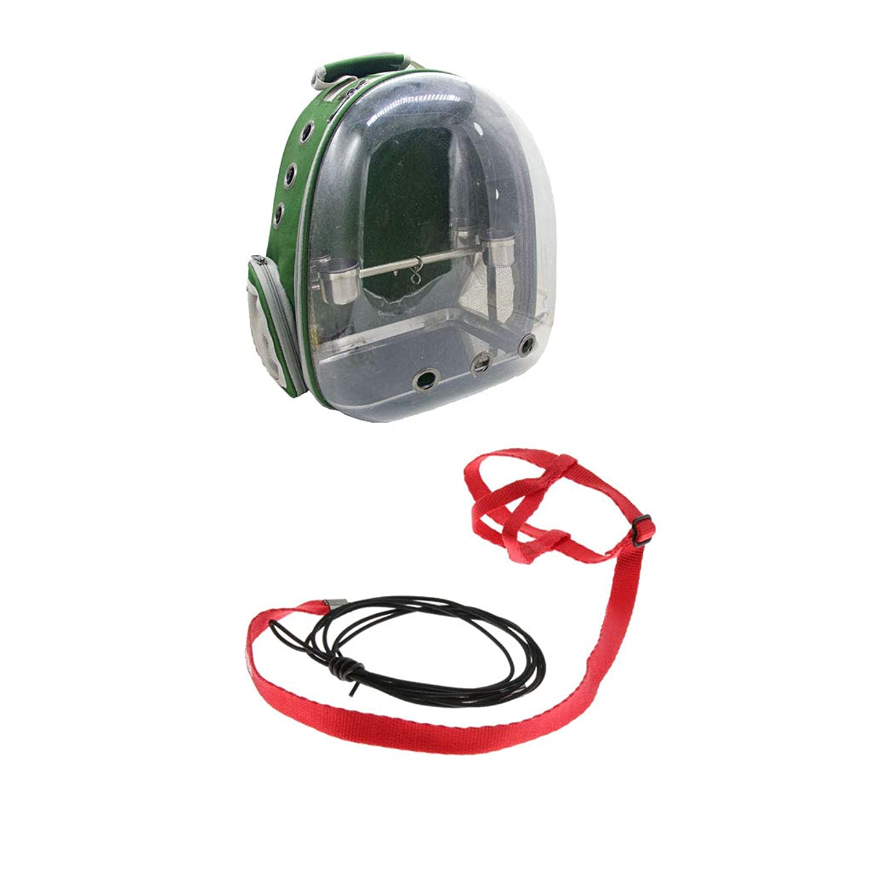 Fenteer 2点セット キャリーバッグ ペット バッグ 鳥用 リュック 止まり木 360度透明窓 散歩適用