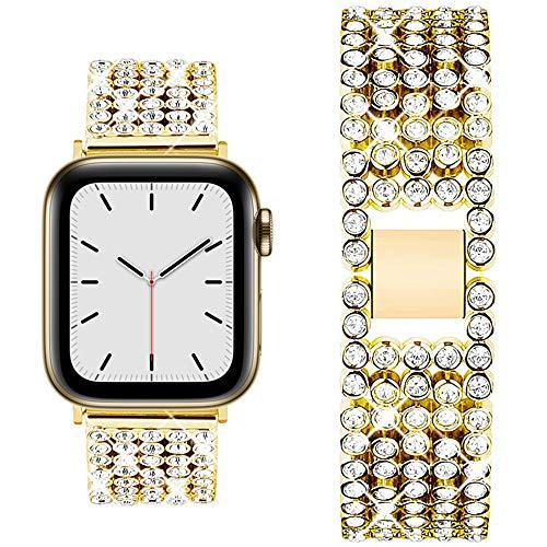 QINJIE Correa Compatible con Apple Watch 1/2/3/4/5/6, Correa de Metal de Acero Inoxidable de Repuesto, Pulsera de Metal con Diamantes de imitación Stra,Oro,38mm