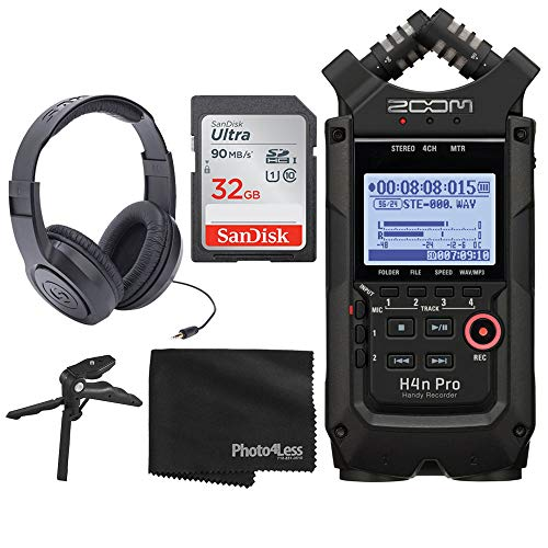 Zoom H4n Pro 4-Input / 4-Track Portable Handy Recorder with Onboard X/Y Mic Capsule (Black) + Over-Ear Stereo Headphones + 32GB Ultra SDHC UHS-I Memory Card + Table Tripod Hand Grip + Cleaning Cloth