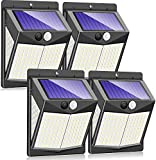 Claoner Solar Motion Sensor Lights, 140 LED/3 Modes Wireless Solar Lights Outdoor IP65 Waterproof Security Solar Wall Lights, 2400 Lumens for Front Door, Deck, Garden, Yard, Garage-4 Packs
