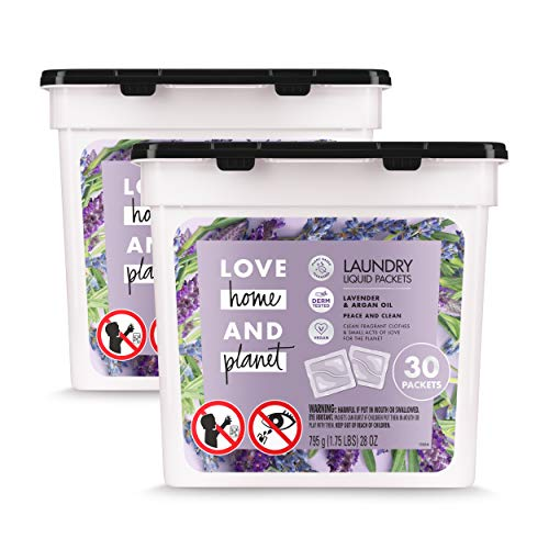 Love Home and Planet Laundry Detergent Packets Lavender & Argan Oil, 30 Count, Pack of 2