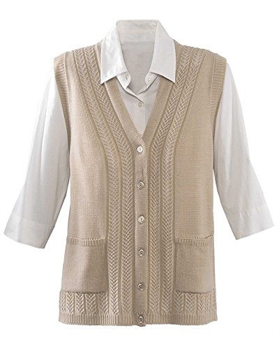 National Classic Sweater Vest, Oatmeal, X-Large Petite