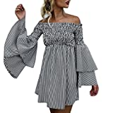 Robe Femme, Amlaiworld Vacances Robe d'épaule Robe de Soirée Stripe Robe Casual Dames Robe à Manches Longues (XL, Noir)