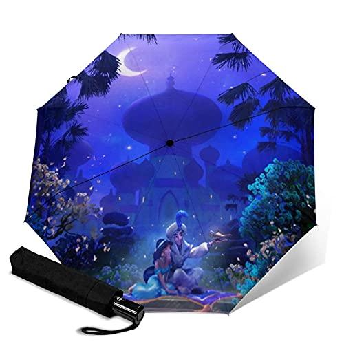 Paraguas plegables Aladdin Magic Lamp Paraguas automatización Portátil de tres pliegues, cortavientos impermeable anti-UV, paraguas plegable compacto y Portátil