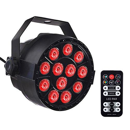 Eyourlife Par Light 12 LED RGB 3 IN 1 Stage Lighting by Remote Control and DMX 512 for Club Disco Party Ballroom KTV Bar Wedding DJ Live Show