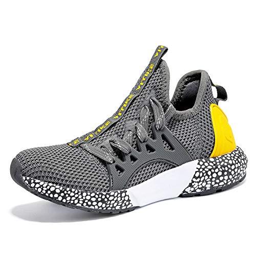 WETIKE Jungen Sneaker Sportschuhe Hallenschuhe Kinder Mesh Atmungsaktiv Laufschuhe (31EU-40EU) für Unisex-Kinder grau 38 EU