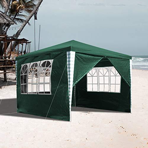 VINGO 3x3m Pavillon Wasserdicht mit 4 Seitenteilen Grün Gartenzelt Partyzelt UV-Schutz Gartenpavillon für Garten Kindergeburtstag Markt Camping